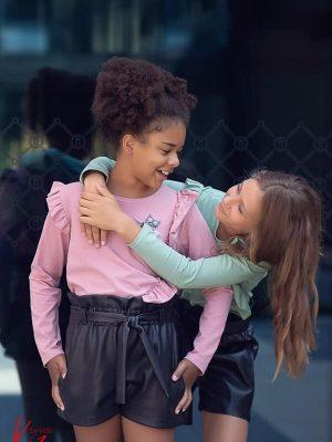 różowa miętowa sowa bluzka z długim rękawem z falbanką dla dziewczynki kiz