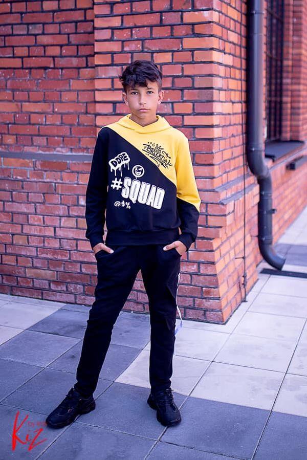 bluza sportowa kiz dla chłopca czarna żółta