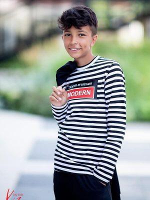 bluzka z długim rękawem dla chłopca kiz paski