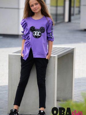 qba kids fioletowa bluzka czarne spodnie