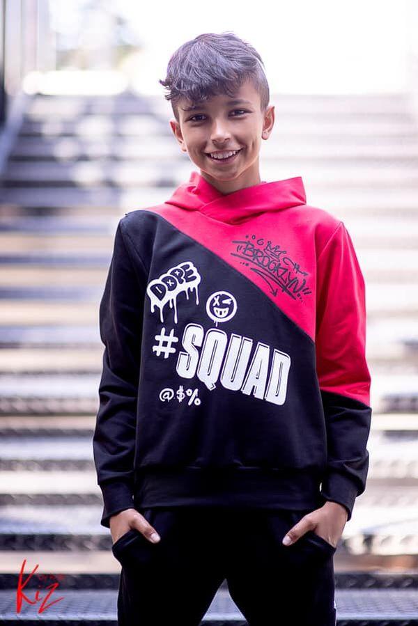 bluza sportowa kiz dla chłopca czarna czerwona