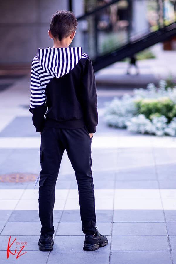 bluza sportowa kiz dla chłopca czarna biała