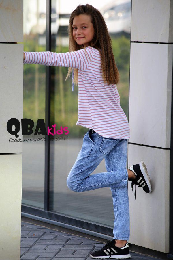bluzka w paski spodnie jeans dla dziewczynki qba kids zaazuu