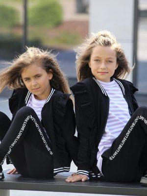 dres czarny dla dziewczynki falbany efektowna bluza