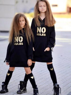 bluza qba kids no rules czarna z kapturem