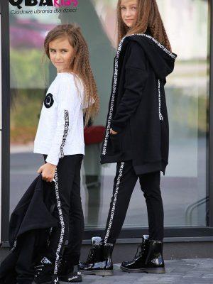 czarna rozpinana bluza z kapturem dla dziewczynki qba kids