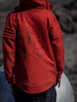 czerwona bluza z kapturem mashmnie wolf rozpinana zaazuu