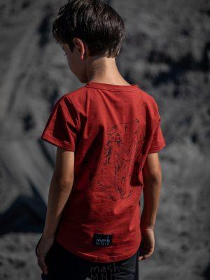 tshirt bluzka czerwona mashmnie wolf krótki rękaw zaazuu