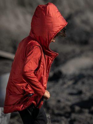 ciepła czerwona kamizelka z kapturem mashmnie zaazuu